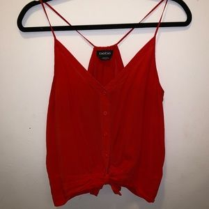 bebe red tank with front buttons & tie, size XS